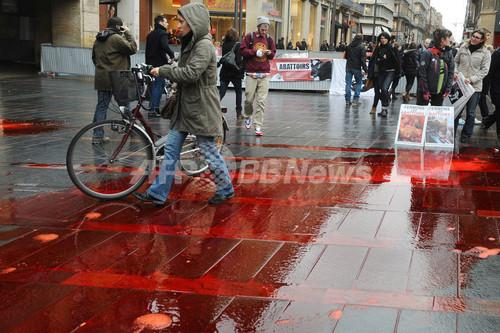 国際ニュース:AFPBB News血に染まる歩道…仏で食肉処理場への抗議デモ
