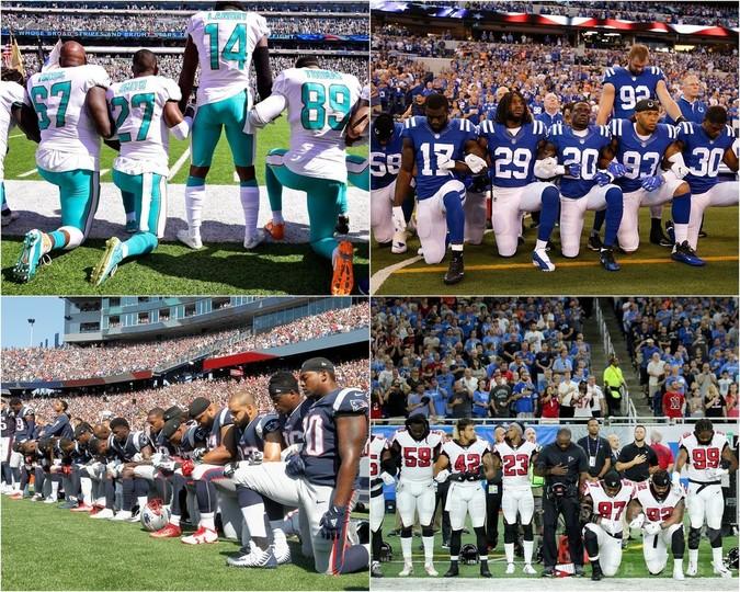 NFLで過去最大級の抗議行動、トランプ大統領の発言に反発