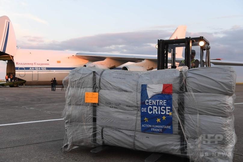 ロ仏合同のシリア人道支援作戦で物資到着