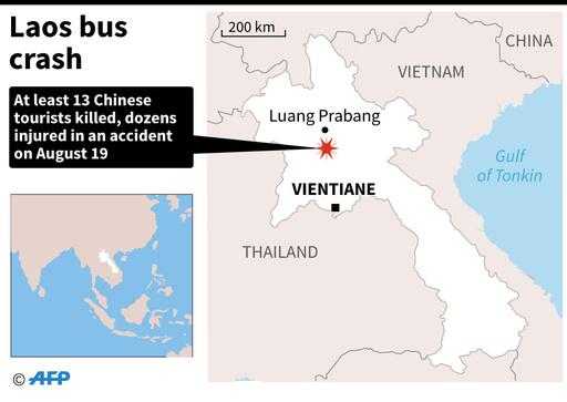 観光バスが30メートル下の谷に転落、中国人13人死亡 ラオス