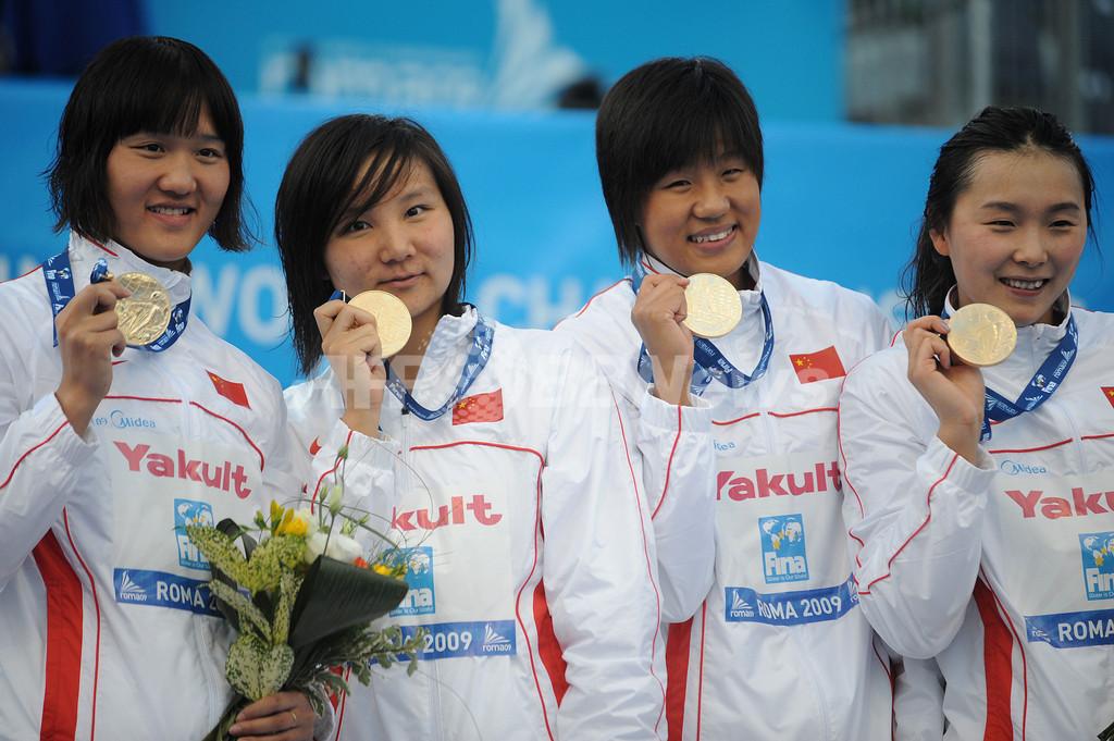 中国 4x200メートルリレーで世界新、世界水泳