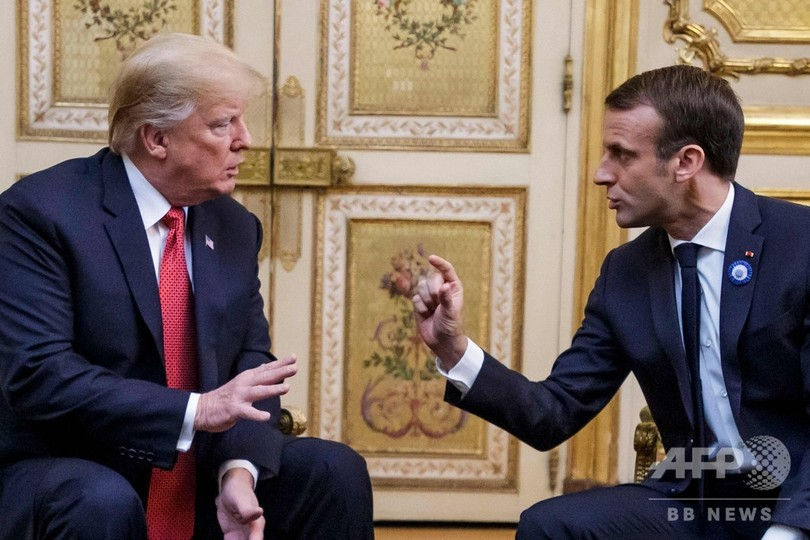 トランプ、マクロン両大統領が会談 「欧州軍」めぐる不和の最中