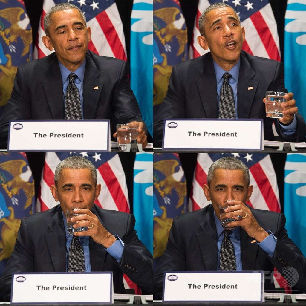 米フリントの汚染水道水、オバマ大統領が飲んで安全アピール