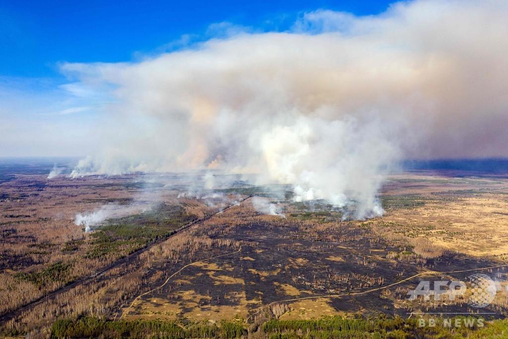 チェルノブイリ付近の森林火災、発生から10日後も消火活動続く