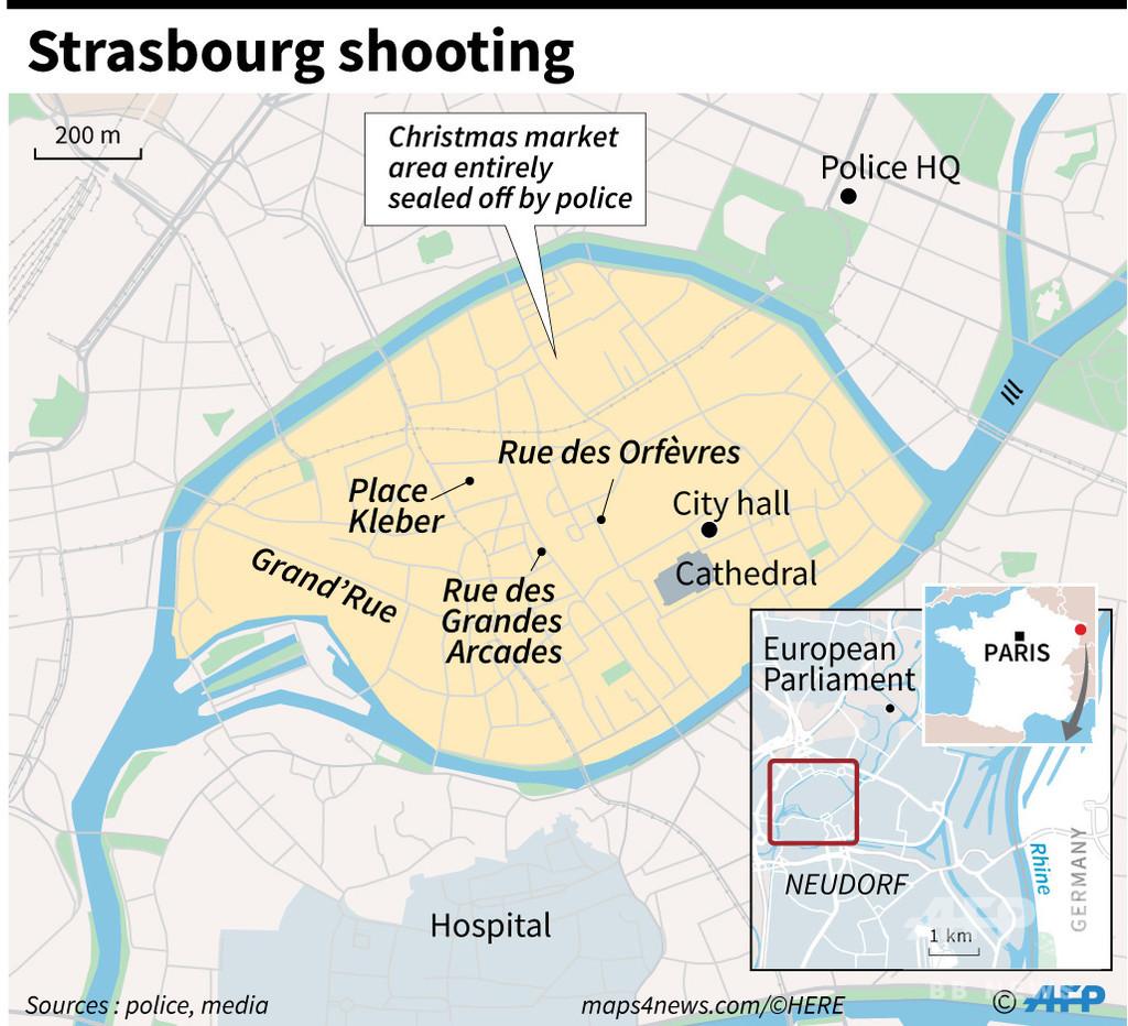 仏ストラスブールで発砲、3人死亡13人負傷 対テロ当局が捜査開始