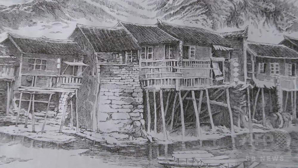 ボールペンで描く長沙の街