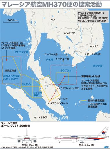 【図解】マレーシア航空MH370便の捜索活動