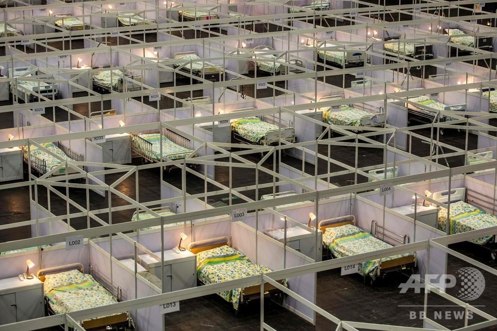 香港で仮設病院の稼働開始、コロナ感染者の急増で