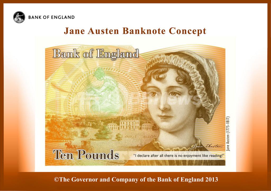 英10ポンド紙幣に作家J・オースティン肖像、「高慢と偏見」「エマ」など