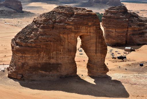 砂漠で餌をさがすゾウ? サウジアラビアの巨石