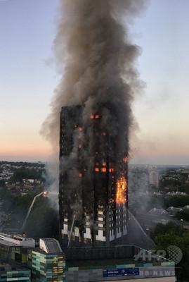 ロンドンの高層住宅で大規模火災、「死者複数」 消防当局
