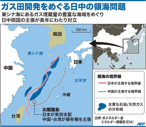 【図解】ガス田開発をめぐる日中の領海問題