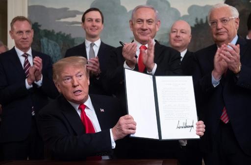 ゴラン高原のイスラエル主権承認、トランプ氏が宣言に署名