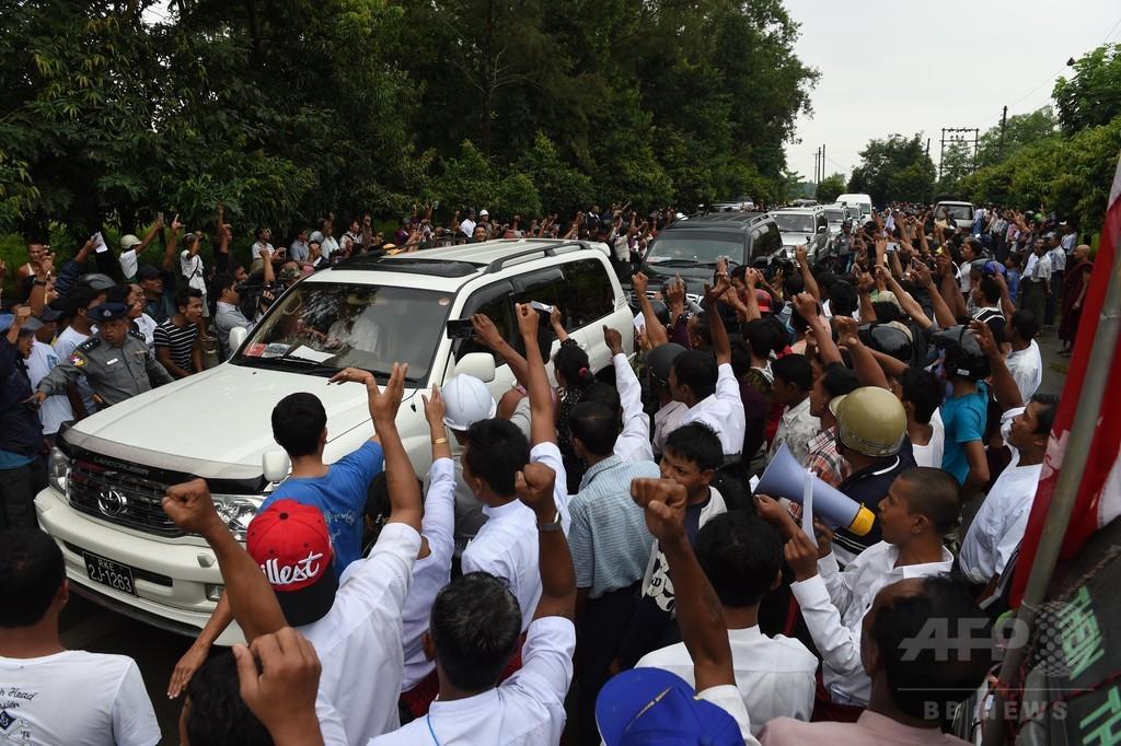 ミャンマー入りの前国連事務総長、仏教徒らから罵声浴びる