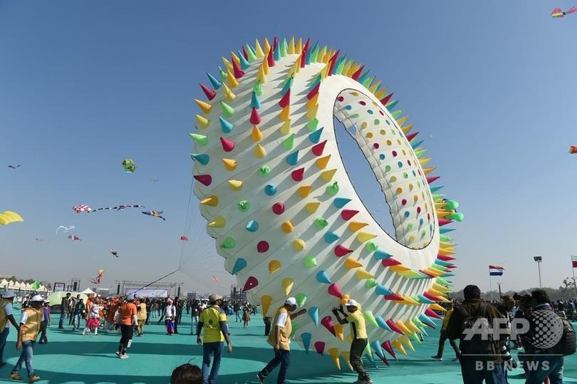 あれもこれもたこ? ユニークなデザインが光る国際たこ揚げ大会 インド