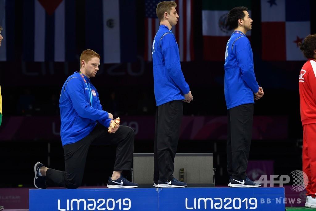 表彰式で抗議の米選手に注意、厳重処分は回避  パンアメリカン大会
