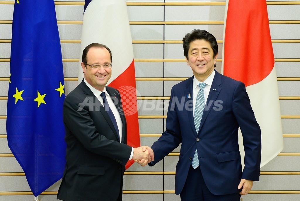 日仏、防衛装備品の開発で協力 アベノミクスは「良い知らせ」と仏大統領