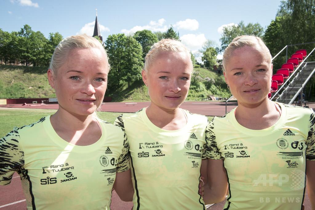 エストニア代表のルイク三姉妹、五輪史上初の三つ子でマラソンに出場