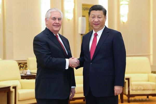 中国の習主席、ティラーソン米国務長官と会談 関係強化を表明