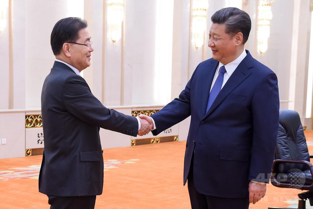 韓国特使、習主席の「大きな役割」に謝意 米朝首脳会談に向けた交渉で