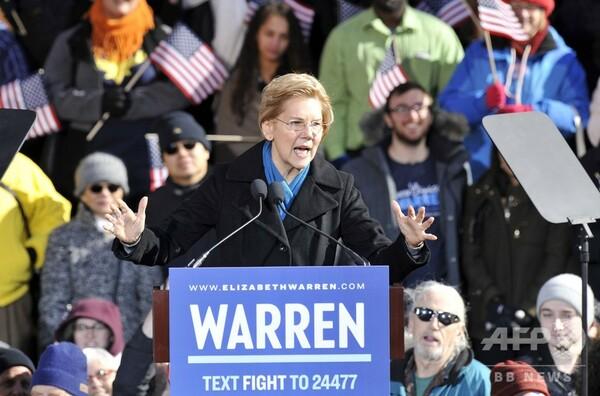 「先住民の血筋」で物議の米民主党ウォーレン上院議員、大統領選に正式出馬表明