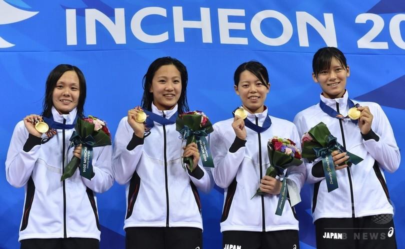 日本が女子4×100mメドレーリレーで金、アジア大会