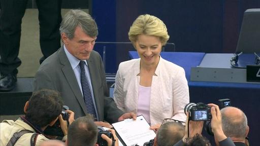 動画:欧州委員長に初の女性 フォンデアライエン氏、僅差で承認