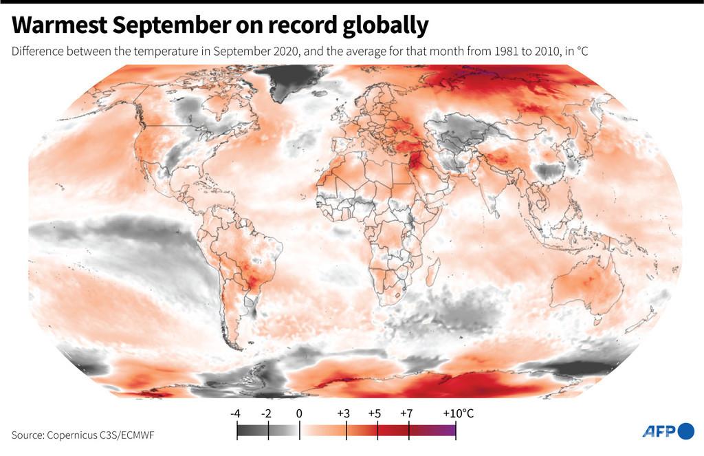 先月は観測史上最も暑い9月に EU機関発表