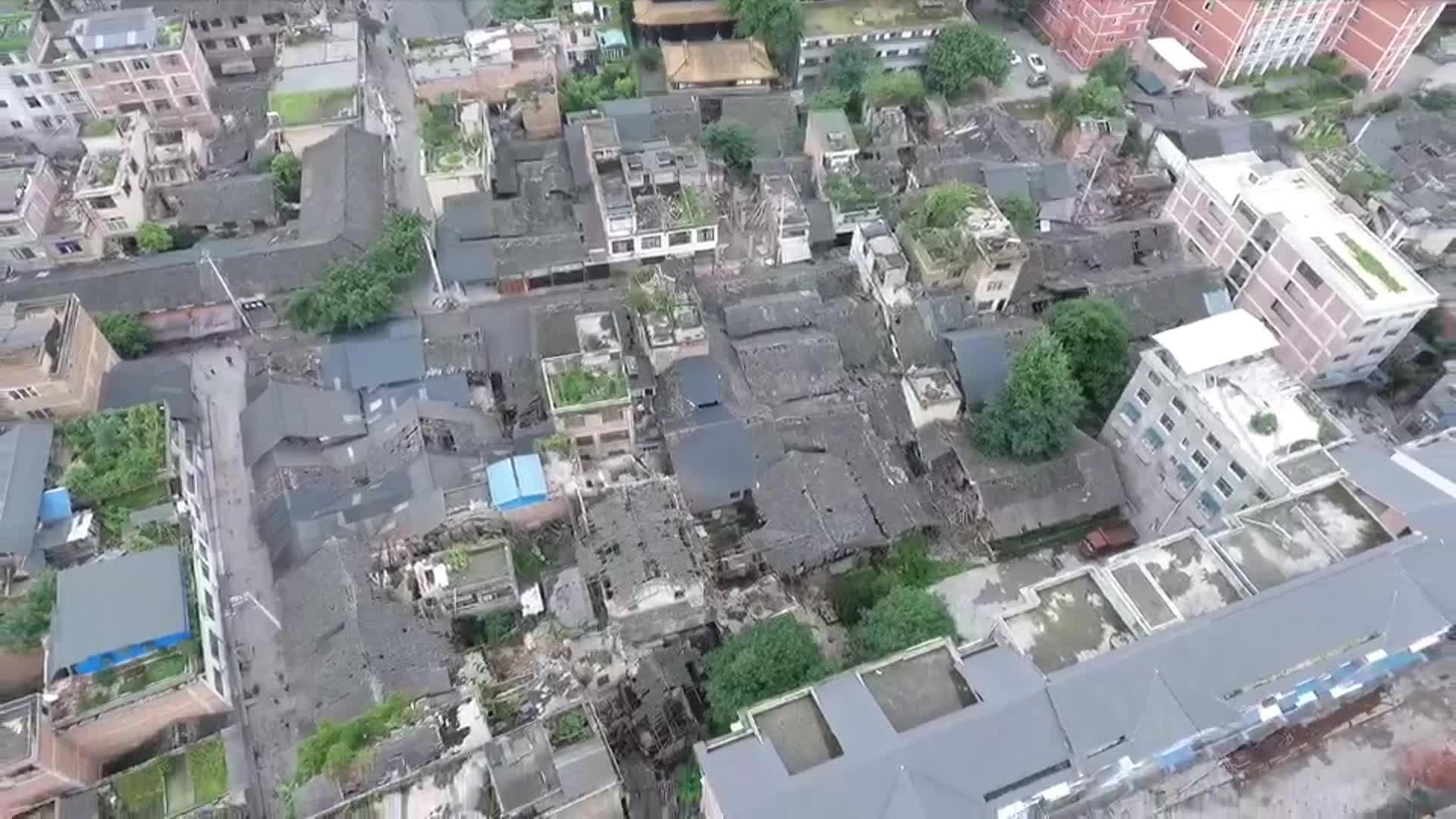 動画:空から見た震源地 四川省宜賓市長寧県