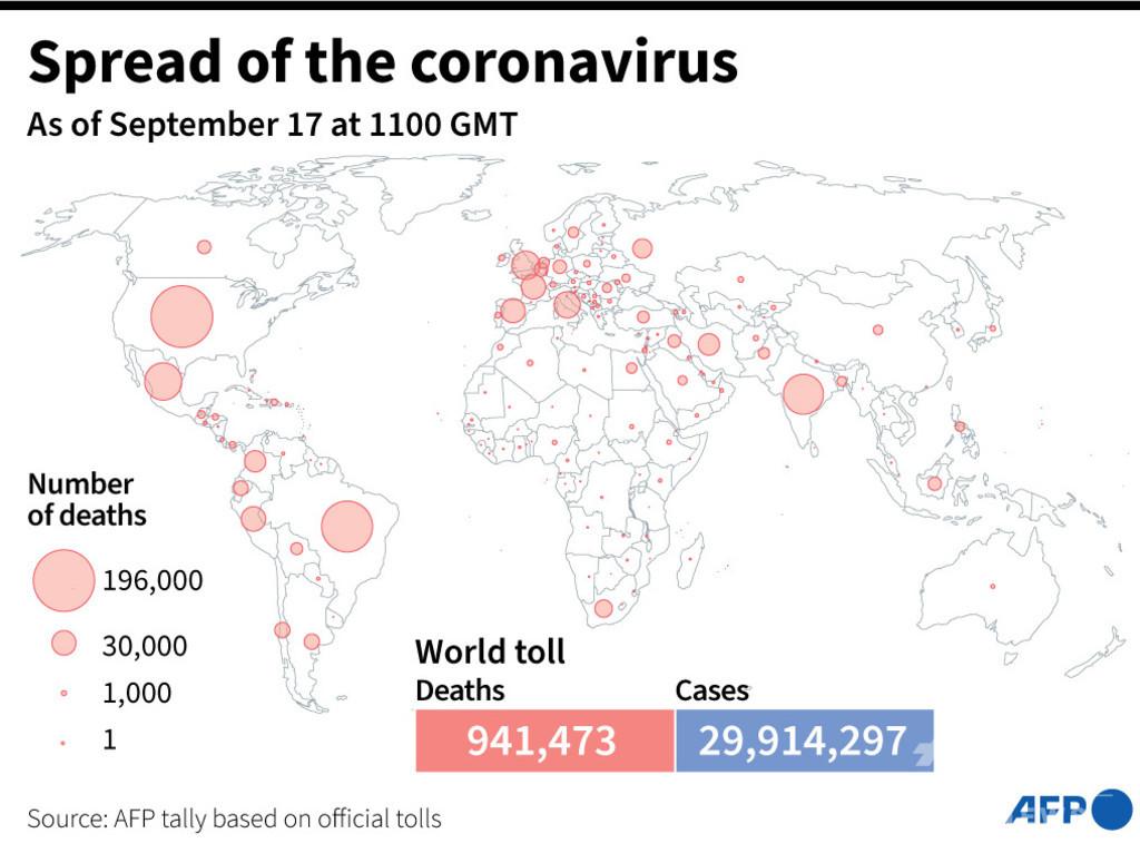 新型コロナウイルス、現在の感染者・死者数(17日午後8時時点) 死者94.1万人に