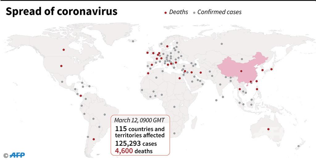 新型コロナウイルス、現在の感染者・死者数(12日午後6時時点)