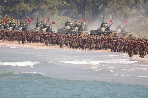 ミャンマー軍、1997年以降最大の軍事演習