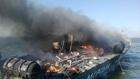ロケット弾受け炎上するウクライナ警備艇
