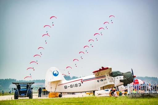 本物の鳥も参加…鮮やかに空中の技を競う 湖北・武漢