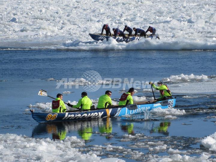 流氷かき分け進む究極のカヌーレース、カナダ・ケベックの冬の風物詩