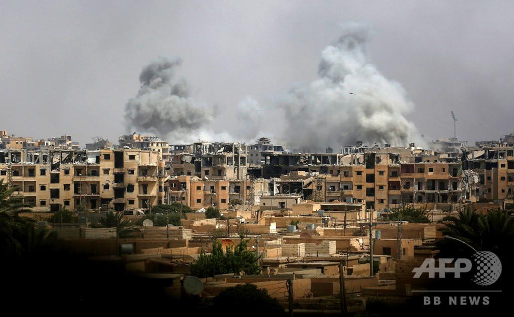 有志連合のシリア空爆、4年で民間人3300人超死亡 監視団発表