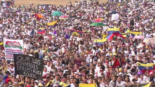 動画:ベネズエラ国境沿いのコロンビアの町でチャリティーコンサート、グアイド氏も登場