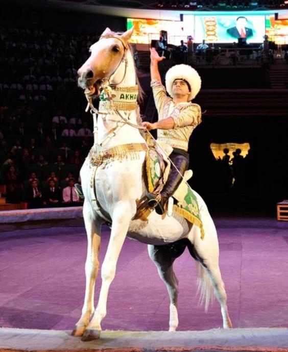 トルクメニスタン大統領の愛馬、後ろ脚で10メートル歩行の最速記録