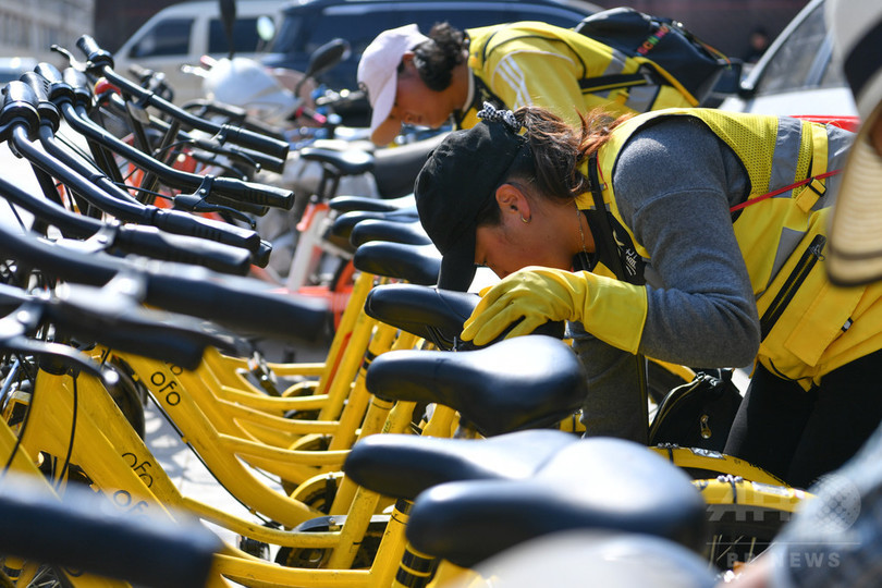 シェア自転車を管理する女性チーム 中国・昆明