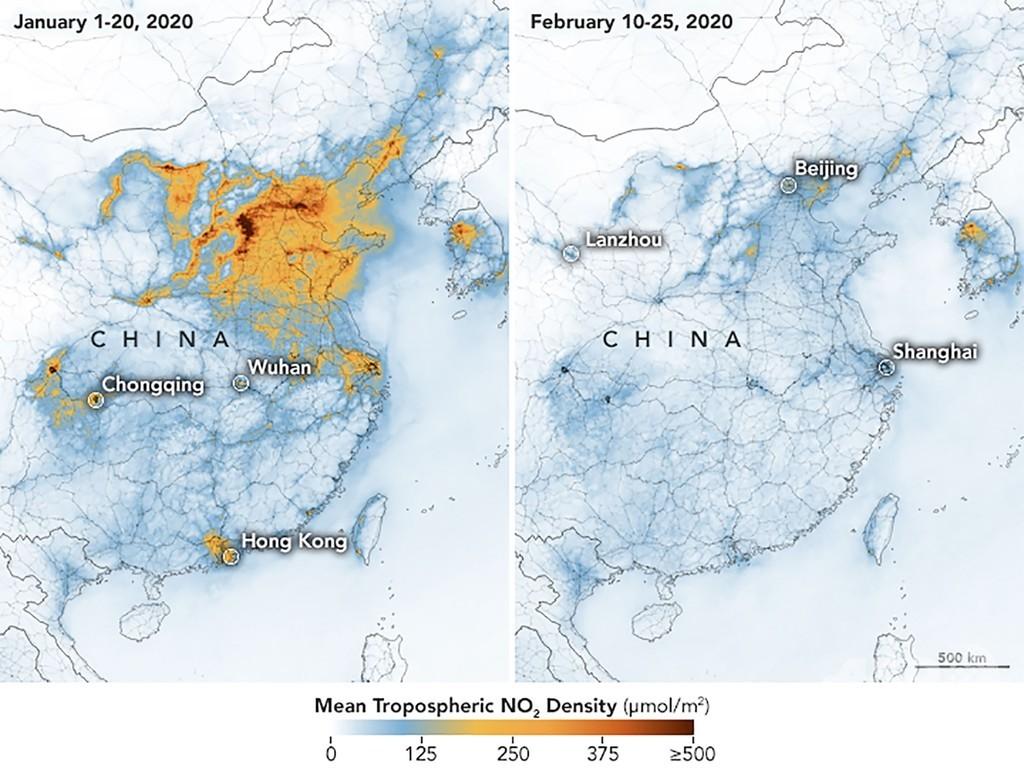 中国の大気汚染、新型ウイルスで減少 NASA衛星画像で判明