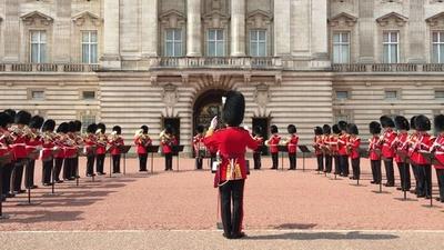 動画:英バッキンガム宮殿、衛兵交代式でA・フランクリン追悼