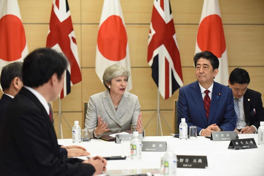 訪日中のメイ英首相、官邸での国家安全保障会議に参加