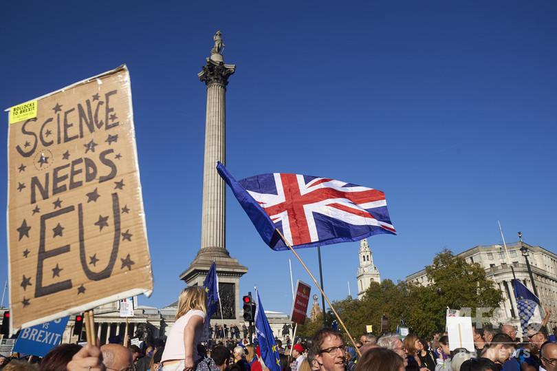 ロンドン中心部でEU離脱反対デモ 主催者発表で57万人参加