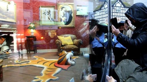動画:バンクシー展、空き店舗に突如出現 英ロンドン