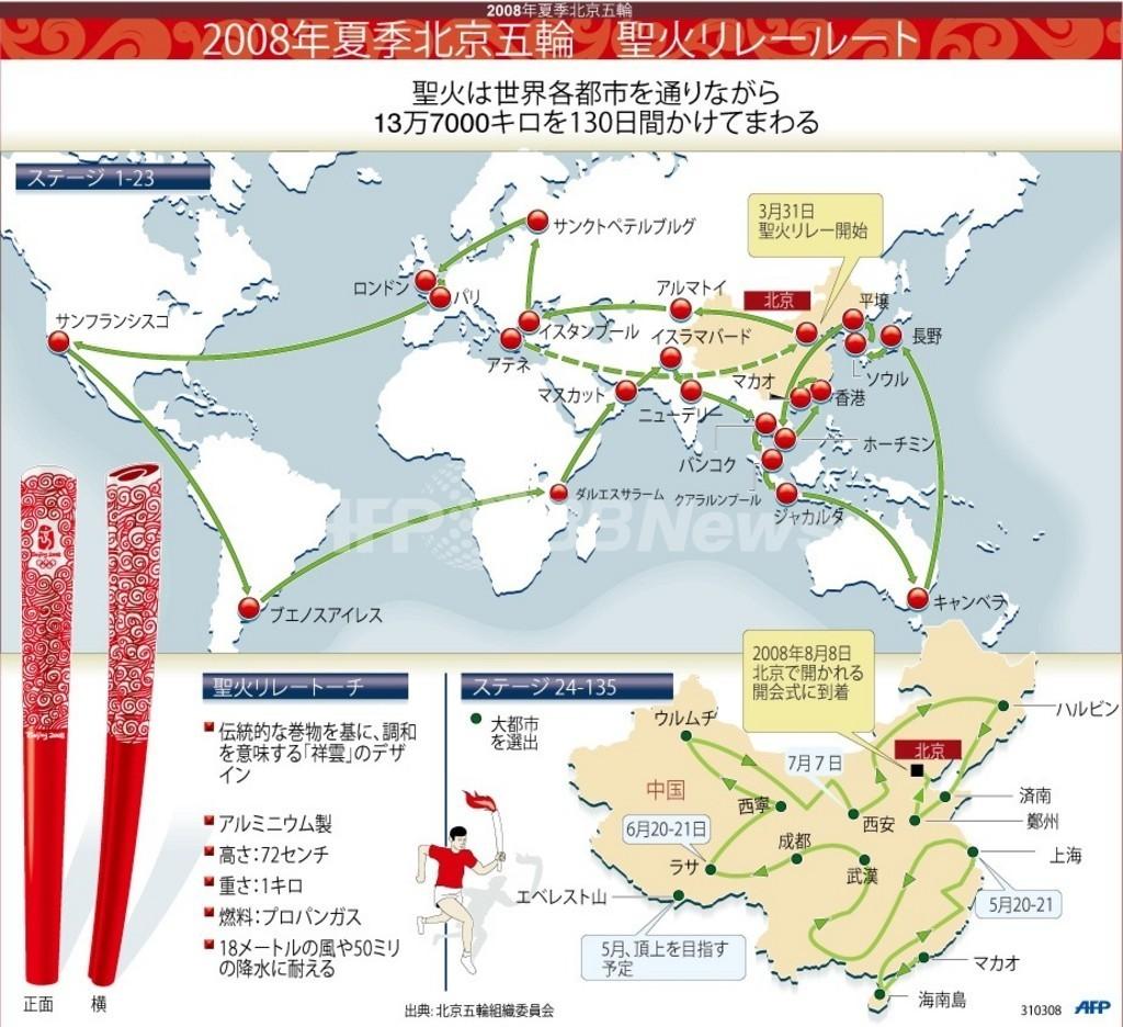 【図解】北京五輪、聖火リレーの通過ルート