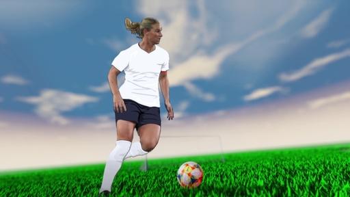 字幕:ビデオグラフィック「女子サッカーW杯フランス大会」