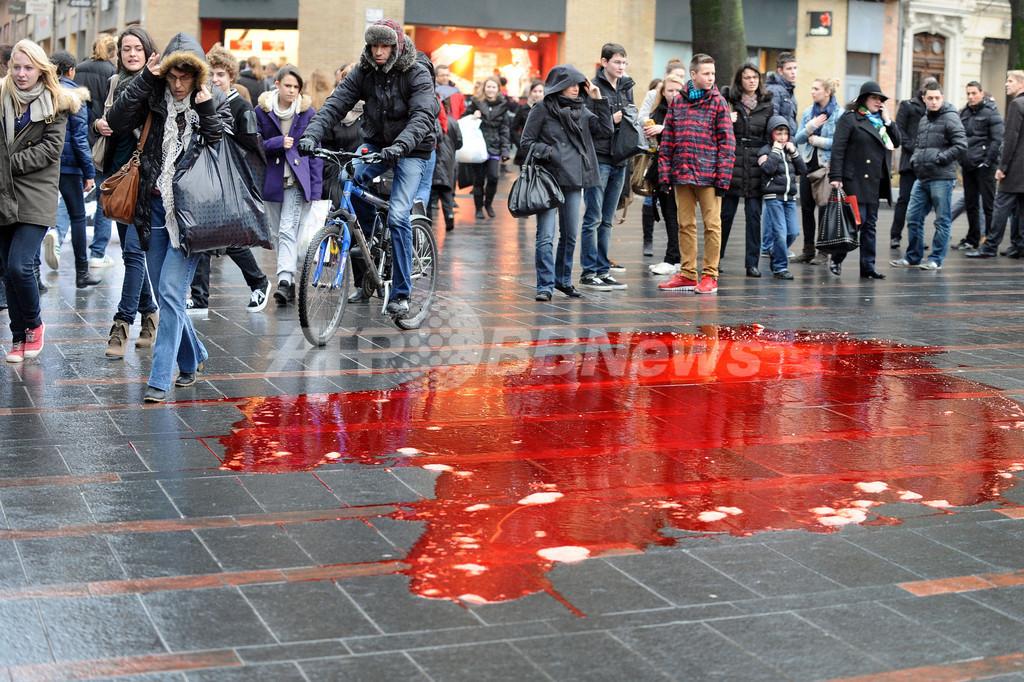 血に染まる歩道…仏で食肉処理場への抗議デモ