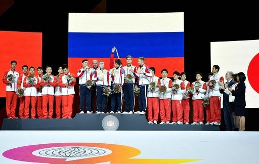 日本は男子団体で銅メダル、ロシアが中国抑え初の金 世界体操