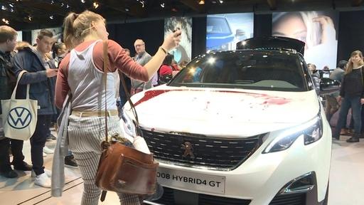 動画:展示車に血!? ベルギーのモーターショーで「絶滅への反逆」が抗議