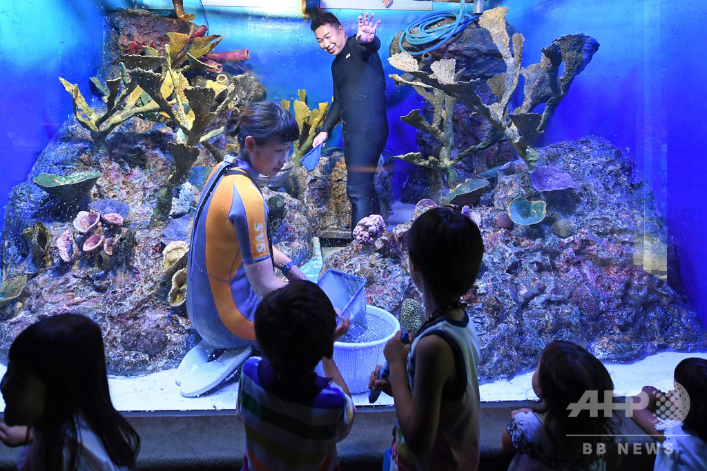 ヒト科水生生物の展示? サンシャイン水族館で水槽の清掃作業を公開